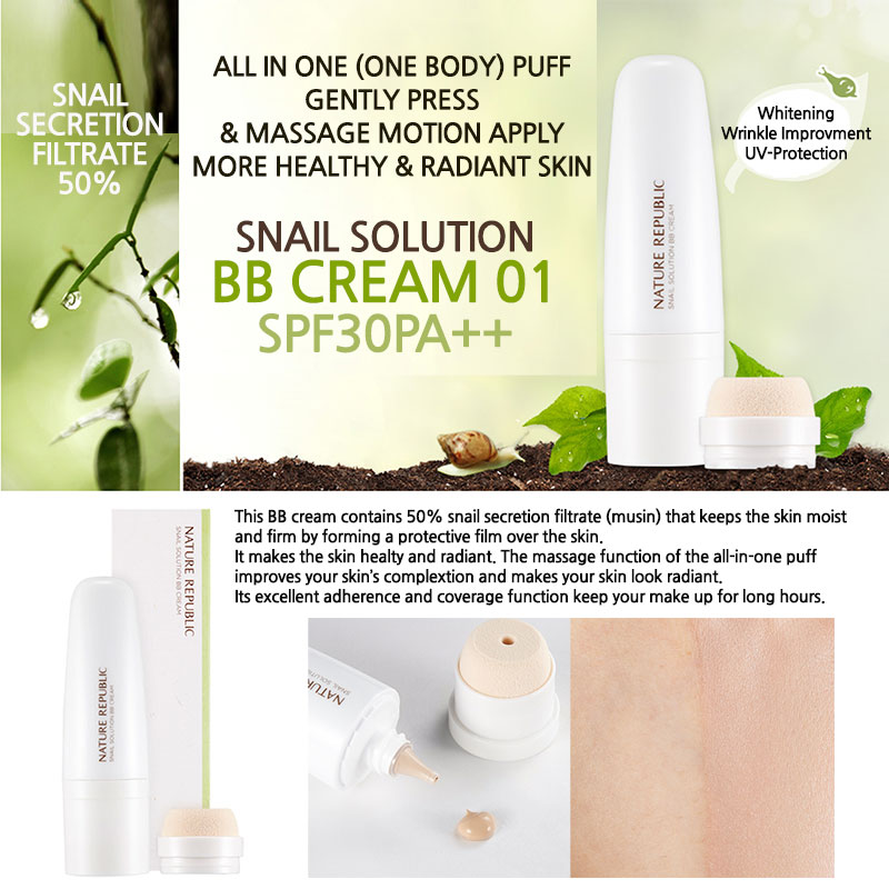 Kem BB Ốc Sên Nature Republic Snail Solution BB Cream SPF30 PA++ 1