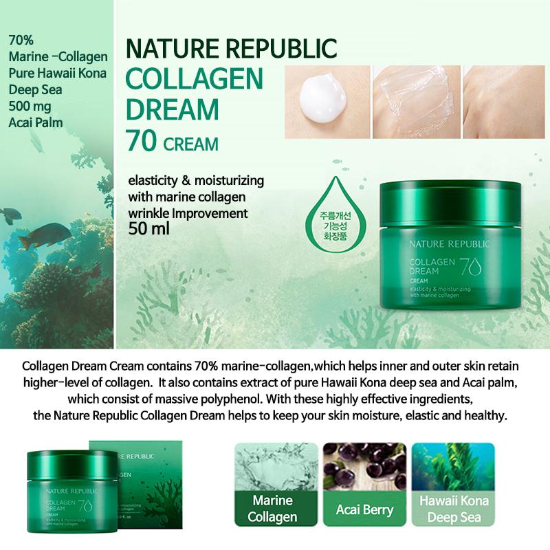 Kết quả hình ảnh cho Nature Republic Collagen Dream 70 Cream